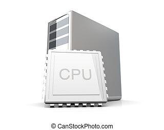 Desktop CPU - 3D rendered Illustration. Isolated on white.
