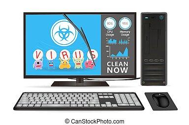 App, dator, rensning, skrivbord. Ansökan, dator, rensning, skrivbord.