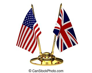 Desktop flagpole with flags of the United States and Britain.
