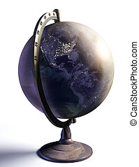 desktop globe with night lights of american continent