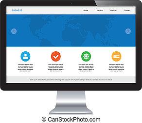 desktop, isolado, responsivo, webdesign
