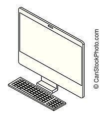 desktop, isometric, ícone computador