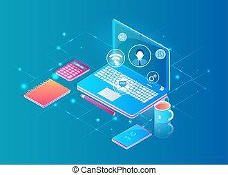desktop, laptop, conceito, trabalhando, internet