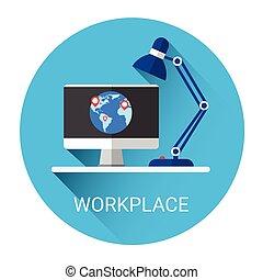 desktop, local trabalho, negócio, ícone