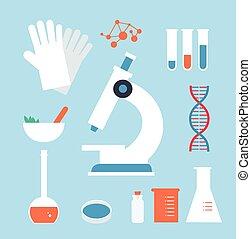 desktop, médico, laboratório, ilustração