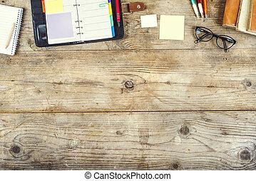 desktop, malen, vermalen, op, een, houten, kantoor, tafel.
