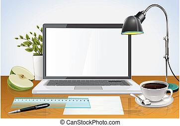 desktop, met, draagbare computer