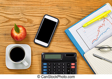 desktop, met, financieel, items, bereid, te analyseren, markt, financieel, data