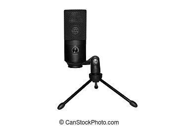 Desktop microphone isolated on a white background. Microphone on the stand.