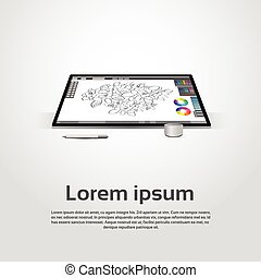 Desktop Modern Computer Graphic Designer Workplace