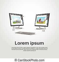 Desktop Modern Computer Graphic Designer Workplace Vector...