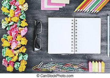desktop, moderno, blocco note, vuoto