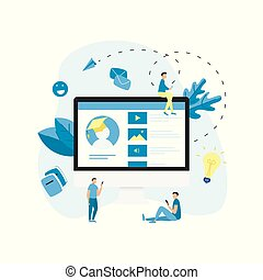Desktop online education app. E-learning concept