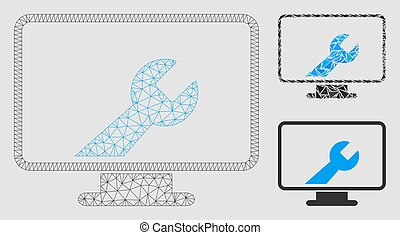 Desktop Options Vector Mesh Network Model and Triangle Mosaic Icon