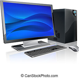An illustration of desktop PC computer workstation. Monitor, mouse keyboard and tower