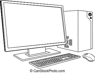 Desktop PC computer workstation - A black and white...