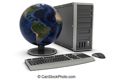 Desktop PC , globe screen , This is a computer generated and 3d rendered picture.