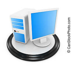 Desktop PC icon , This is a computer generated and 3d...