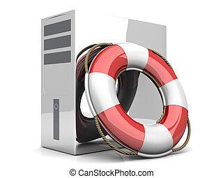 Desktop PC Life Belt - A life belt with a Desktop PC. 3d...