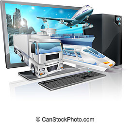 A desktop computer with truck, train, plane, and ship coming out of screen. Logistics transport or delivery concept.