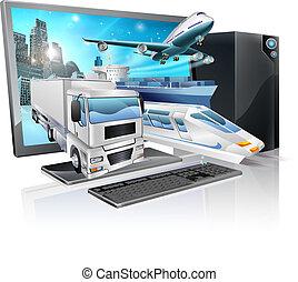 Desktop pc logistics concept - A desktop computer with truck...