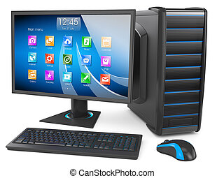 Desktop PC. Personal computer modern. Keyboard, display, mouse, tower case box. Isolated on white background 3d