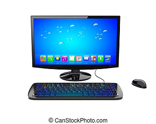 Desktop pc - Black desktop pc computer with keyboard and...