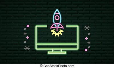 desktop, rakieta, neon, ściana, lekki