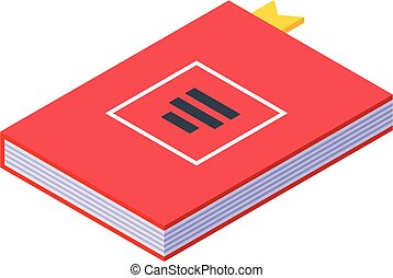Desktop red book icon, isometric style