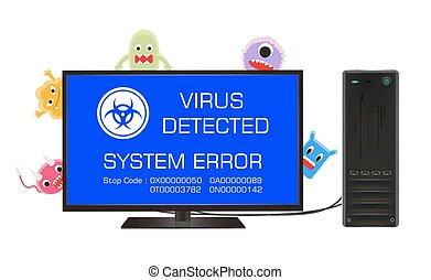 desktop, scherm, computer, fout