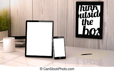 desktop tablet and phone mock-up - Digital generated tablet ...