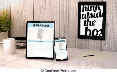 desktop, tablet, en, telefoon, dentale verzekering