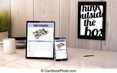 desktop, tablet, en, telefoonhuis, verzekering