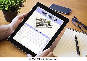 desktop, tablet, huis verzekering