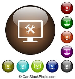 Desktop tools color glass buttons