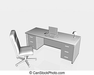 Top view on a bureau and chair with laptom. Workplace concept, copy space, clipping path