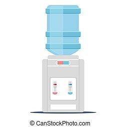 Desktop water cooler vector illustration in flat style.
