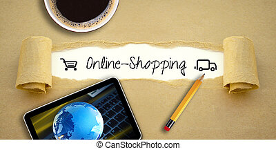 Desktop with a cup of coffee with tablet or smartphone using online shopping