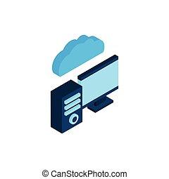 desktop with cloud computing icon
