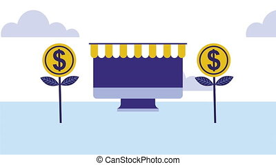 desktop with coins money dollars animation