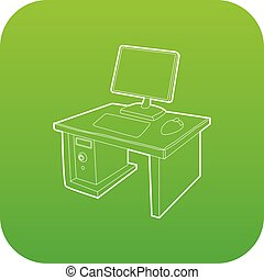 Desktop with computer icon green vector