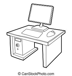 Desktop with computer icon, isometric 3d style