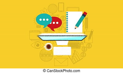 desktop with electronic education technology , hd video...