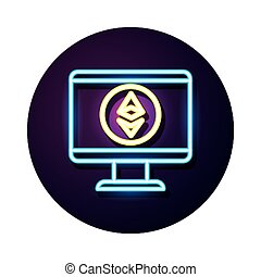 desktop with ethereum crypto currency neon style vector ...