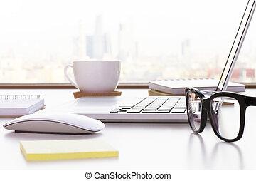 Desktop with items closeup