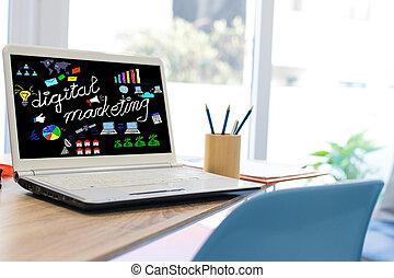 desktop with laptop and digital marketing web