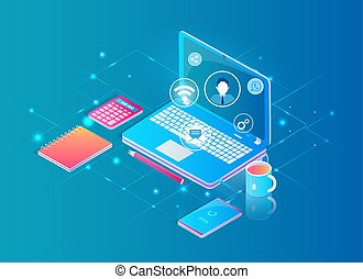 Desktop with Laptop Working in Internet Concept