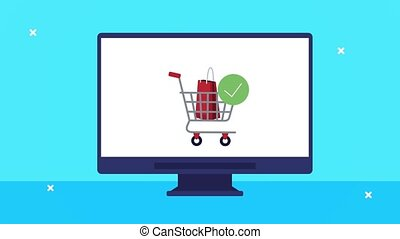 desktop with shopping cart ecommerce technology ,4k video animated