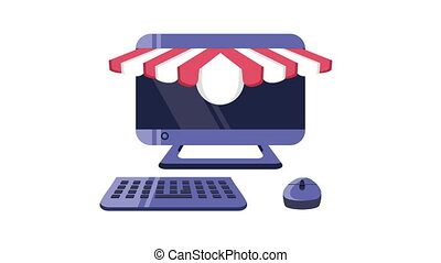 desktop with shopping online animation ,4k video animated