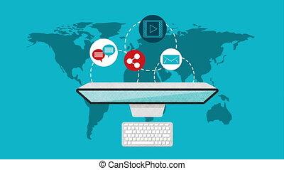 desktop with social media technology , hd video animation